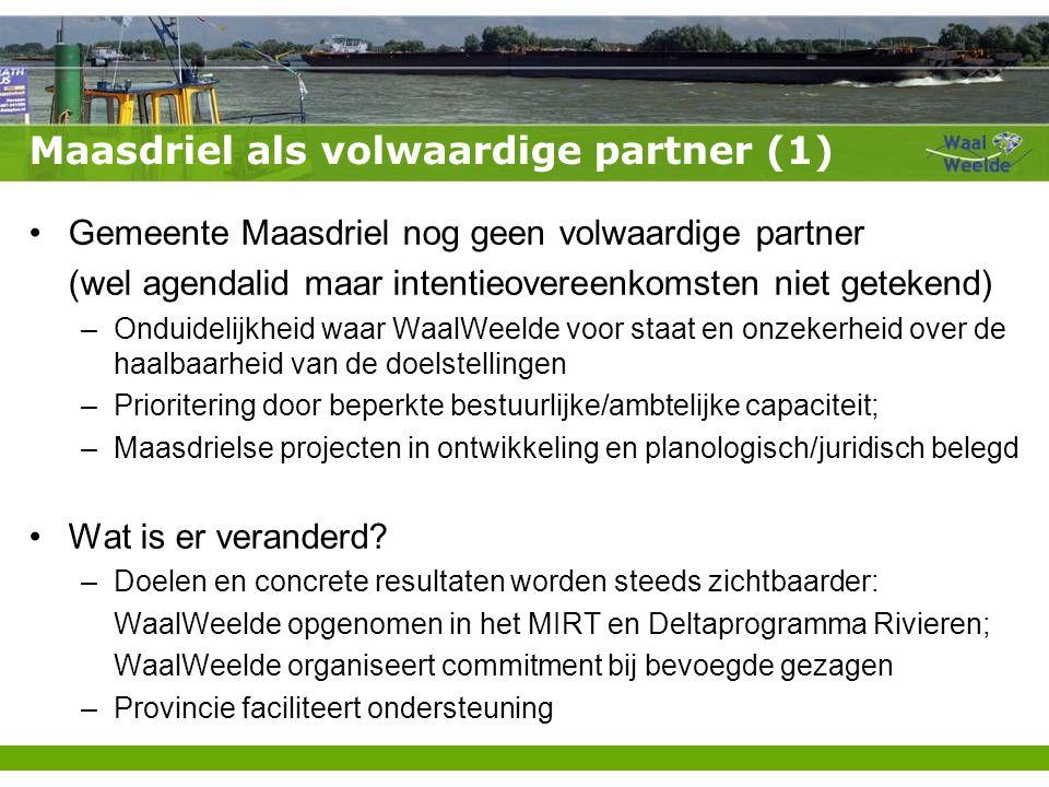 Maasdriel als volwaardige partner (1) Gemeente Maasdriel nog geen volwaardige partner (wel agendalid maar intentieovereenkomsten niet getekend) –Ondui