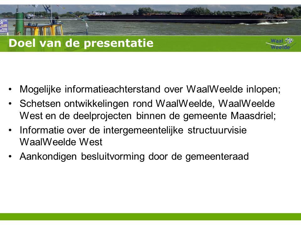 Doel van de presentatie Mogelijke informatieachterstand over WaalWeelde inlopen; Schetsen ontwikkelingen rond WaalWeelde, WaalWeelde West en de deelpr