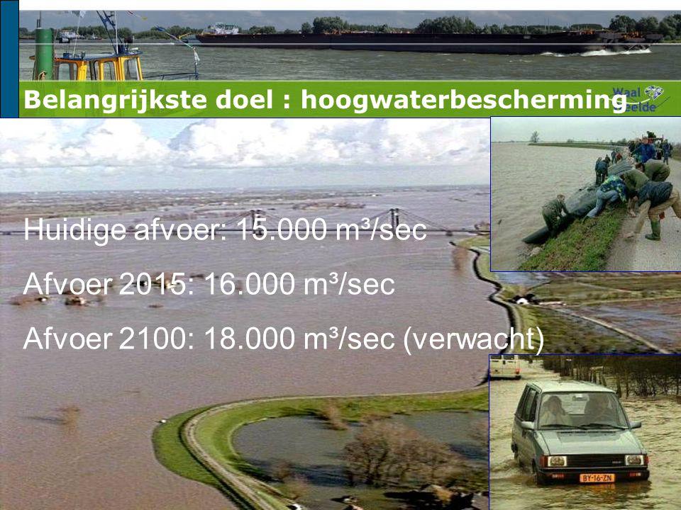 Huidige afvoer: 15.000 m³/sec Afvoer 2015: 16.000 m³/sec Afvoer 2100: 18.000 m³/sec (verwacht) Belangrijkste doel : hoogwaterbescherming