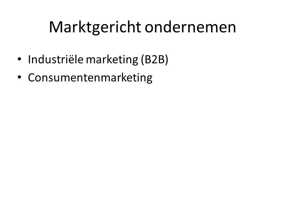 Marktgericht ondernemen Industriële marketing (B2B) Consumentenmarketing
