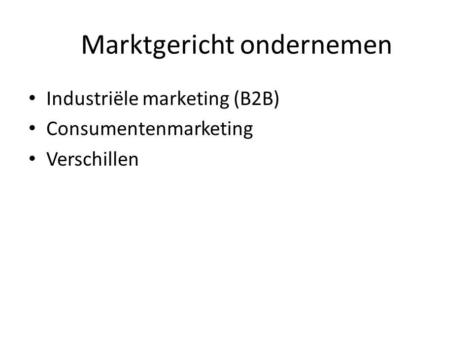 Marktgericht ondernemen Industriële marketing (B2B) Consumentenmarketing Verschillen