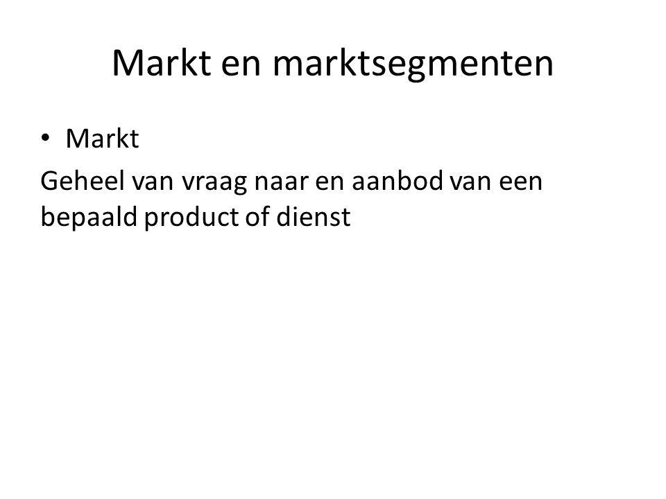 Markt en marktsegmenten Markt Geheel van vraag naar en aanbod van een bepaald product of dienst