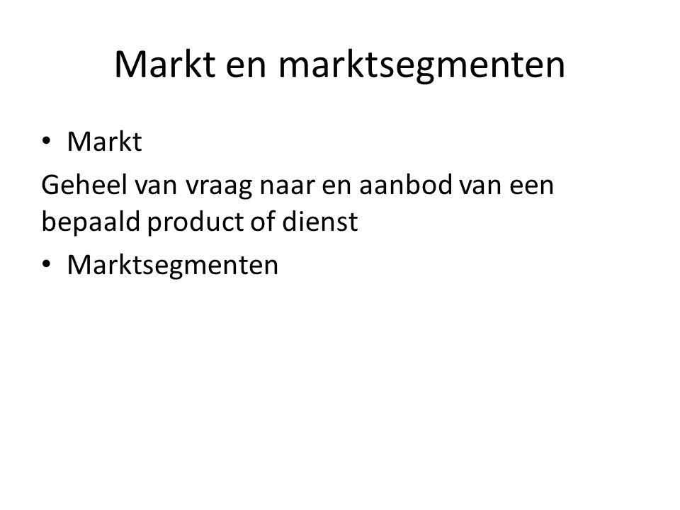 Markt en marktsegmenten Markt Geheel van vraag naar en aanbod van een bepaald product of dienst Marktsegmenten