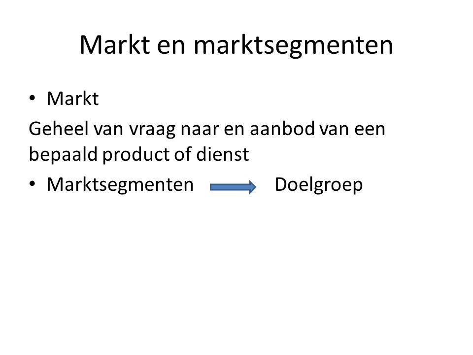 Markt en marktsegmenten Markt Geheel van vraag naar en aanbod van een bepaald product of dienst Marktsegmenten Doelgroep