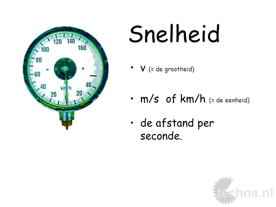 Snelheid v (= de grootheid) m/s of km/h (= de eenheid) de afstand per seconde.