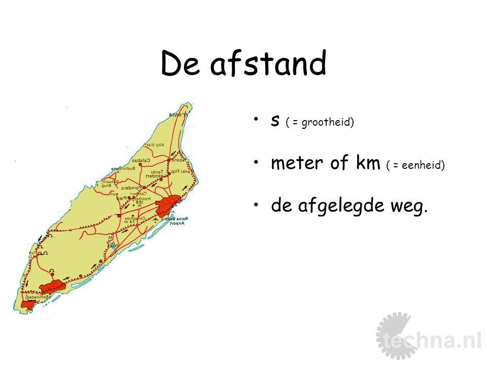 De afstand s ( = grootheid) meter of km ( = eenheid) de afgelegde weg.