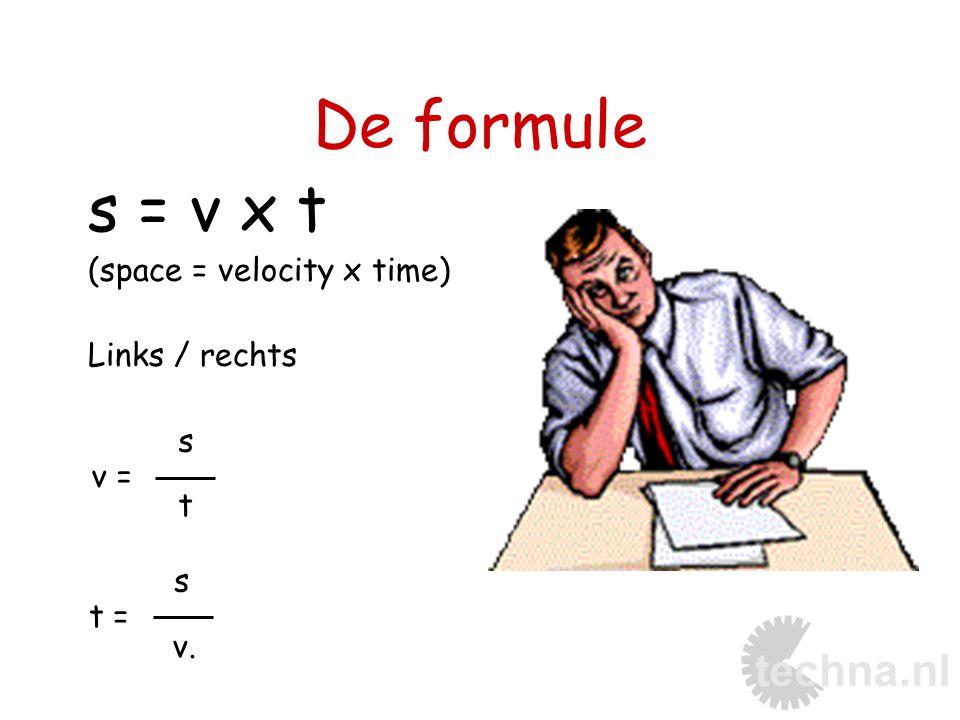 De formule s = v x t (space = velocity x time) Links / rechts s t s v. v = t =