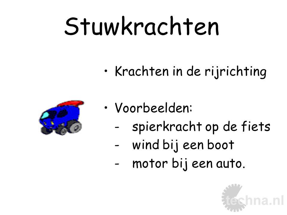 Stuwkrachten Krachten in de rijrichting Voorbeelden: -spierkracht op de fiets -wind bij een boot -motor bij een auto.