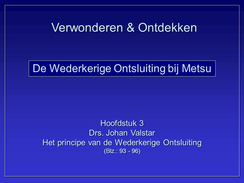 De Wederkerige Ontsluiting bij Metsu Hoofdstuk 3 Drs. Johan Valstar Het principe van de Wederkerige Ontsluiting (Blz.: 93 - 96) Hoofdstuk 3 Drs. Johan