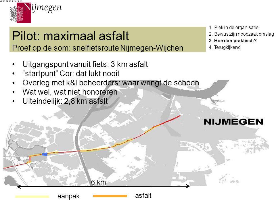 """Pilot: maximaal asfalt Proef op de som: snelfietsroute Nijmegen-Wijchen 6 km aanpak asfalt Uitgangspunt vanuit fiets: 3 km asfalt """"startpunt"""" Cor: dat"""