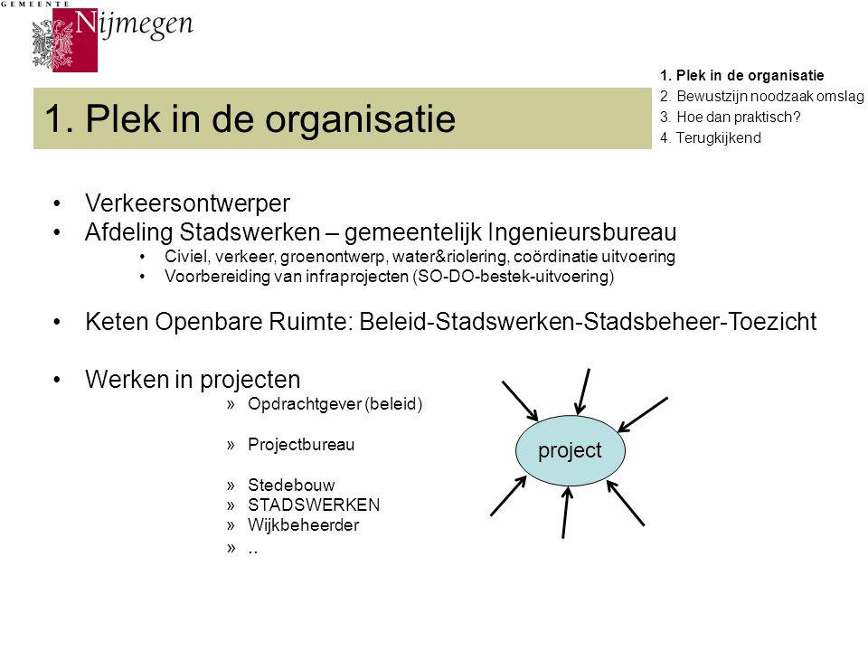 1. Plek in de organisatie 2. Bewustzijn noodzaak omslag 3. Hoe dan praktisch? 4. Terugkijkend 1. Plek in de organisatie Verkeersontwerper Afdeling Sta
