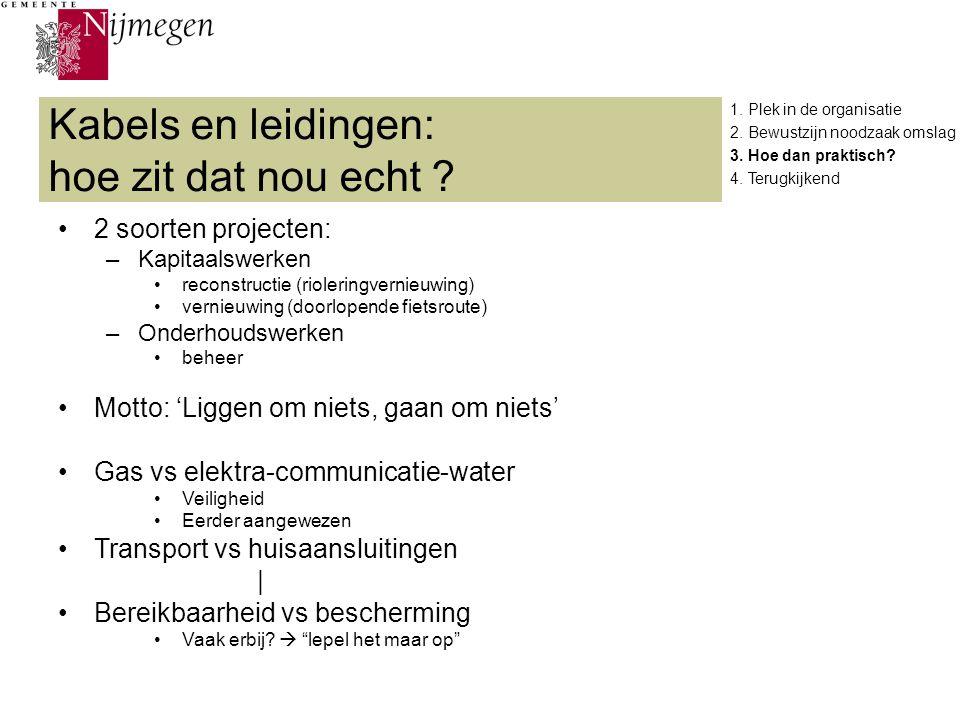 Kabels en leidingen: hoe zit dat nou echt ? 2 soorten projecten: –Kapitaalswerken reconstructie (rioleringvernieuwing) vernieuwing (doorlopende fietsr