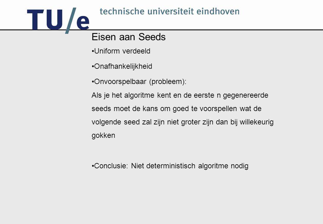 Methoden om Seeds te genereren Bronnen die gebruikt worden om goede random seeds te maken Statische atmosferische ruis Geluid Aantal/duur toetsaanslagen en/of muisklikken Radioactief verval van elementen Andere (onvoorspelbare) fysische verschijnselen