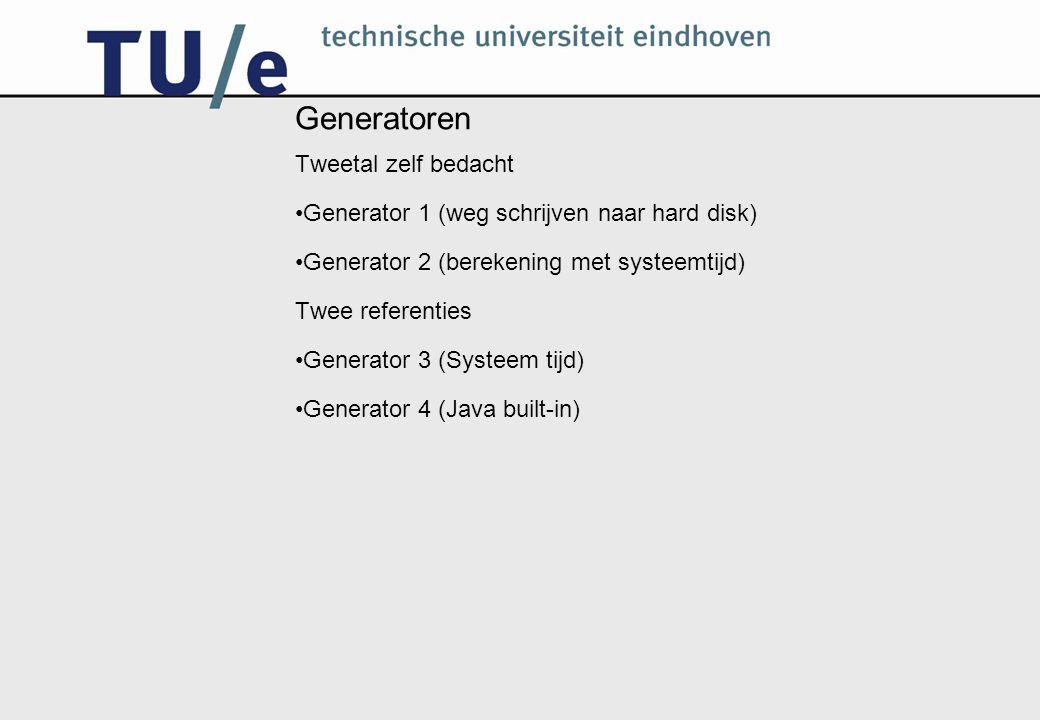 Generator 1 Gebaseerd op het meten van de tijd die het kost om een bestand van 1 MB naar de harde schijf te schrijven.