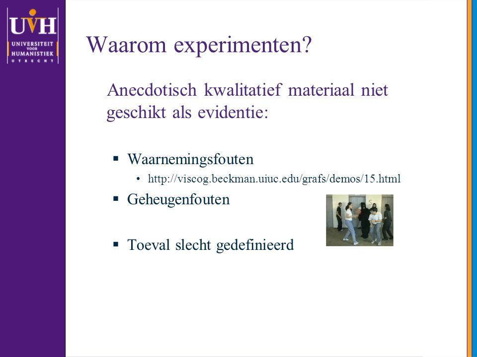 Waarom experimenten.