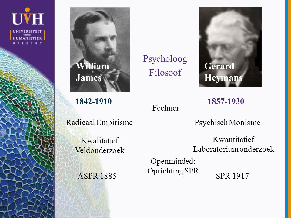 William James Psycholoog Filosoof Gerard Heymans 1842-19101857-1930 Radicaal EmpirismePsychisch Monisme Kwalitatief Veldonderzoek Kwantitatief Laborat
