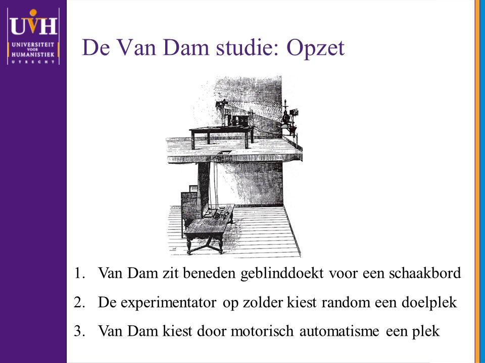 De Van Dam studie: Opzet 1.Van Dam zit beneden geblinddoekt voor een schaakbord 2.De experimentator op zolder kiest random een doelplek 3.Van Dam kiest door motorisch automatisme een plek