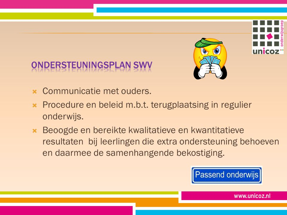  Communicatie met ouders.  Procedure en beleid m.b.t.