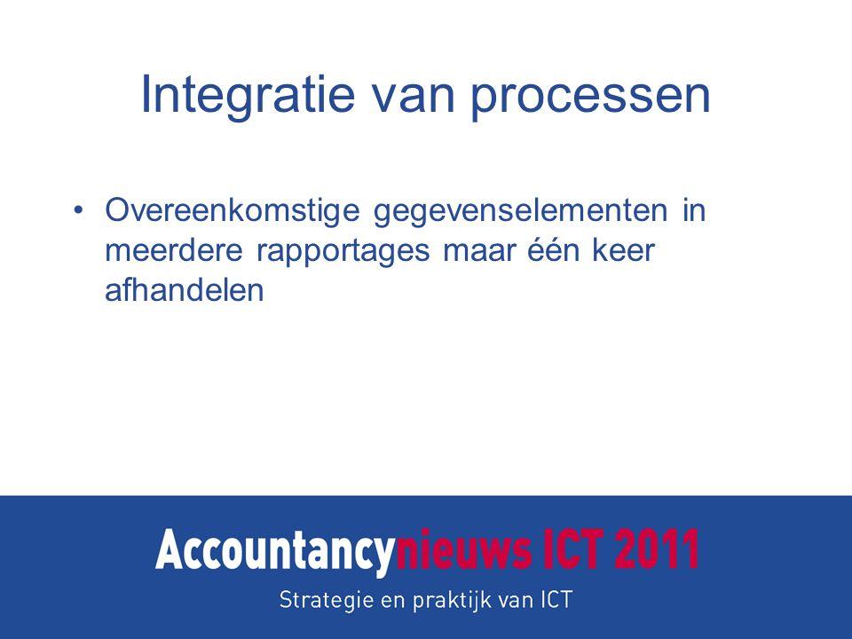 Integratie van processen Overeenkomstige gegevenselementen in meerdere rapportages maar één keer afhandelen