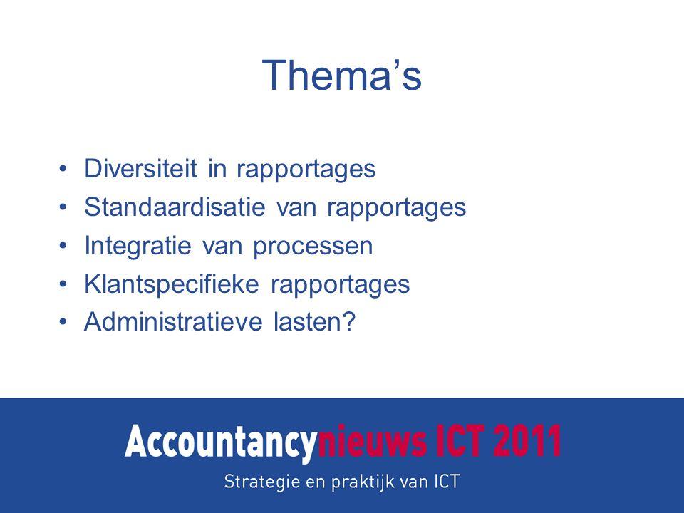 Thema's Diversiteit in rapportages Standaardisatie van rapportages Integratie van processen Klantspecifieke rapportages Administratieve lasten?
