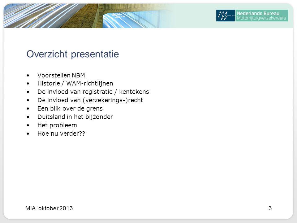 Overzicht presentatie Voorstellen NBM Historie / WAM-richtlijnen De invloed van registratie / kentekens De invloed van (verzekerings-)recht Een blik over de grens Duitsland in het bijzonder Het probleem Hoe nu verder?.