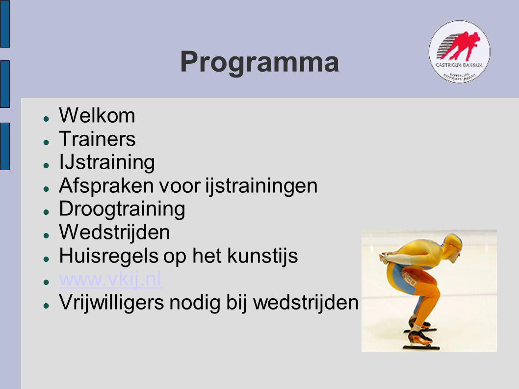 Programma Welkom Trainers IJstraining Afspraken voor ijstrainingen Droogtraining Wedstrijden Huisregels op het kunstijs www.vkij.nl Vrijwilligers nodi
