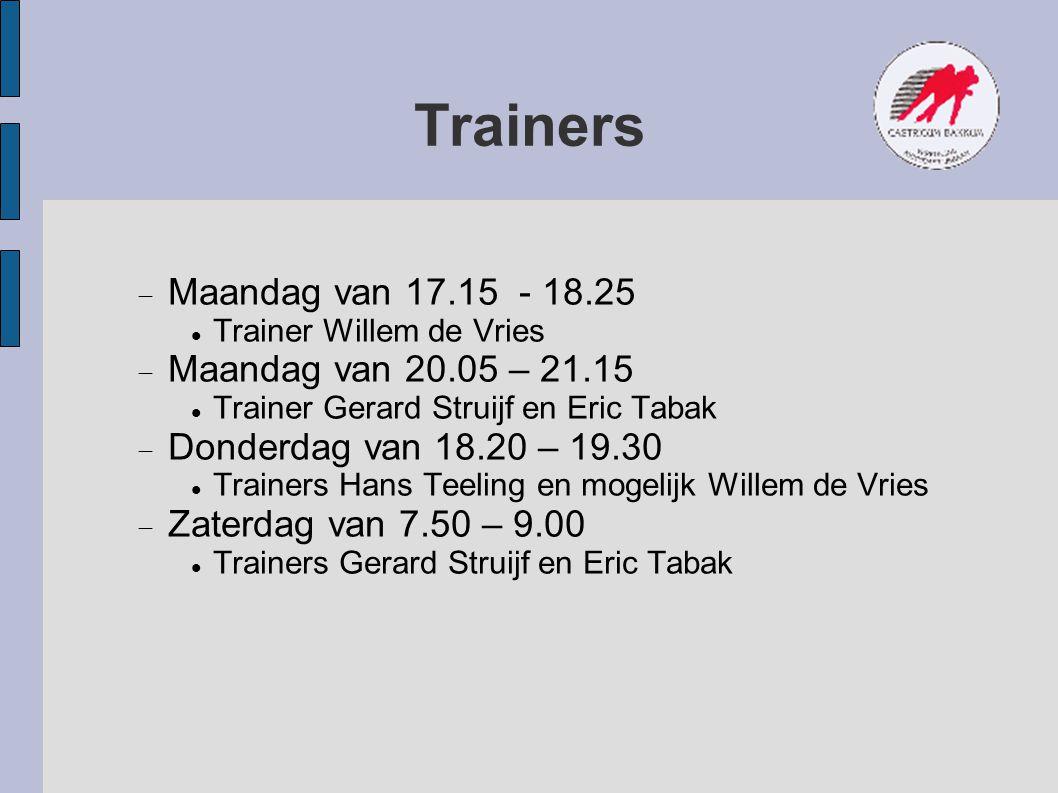 Trainers  Maandag van 17.15 - 18.25 Trainer Willem de Vries  Maandag van 20.05 – 21.15 Trainer Gerard Struijf en Eric Tabak  Donderdag van 18.20 –