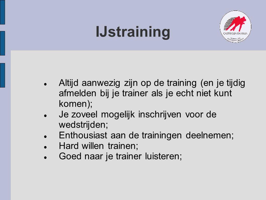 IJstraining Altijd aanwezig zijn op de training (en je tijdig afmelden bij je trainer als je echt niet kunt komen); Je zoveel mogelijk inschrijven voo