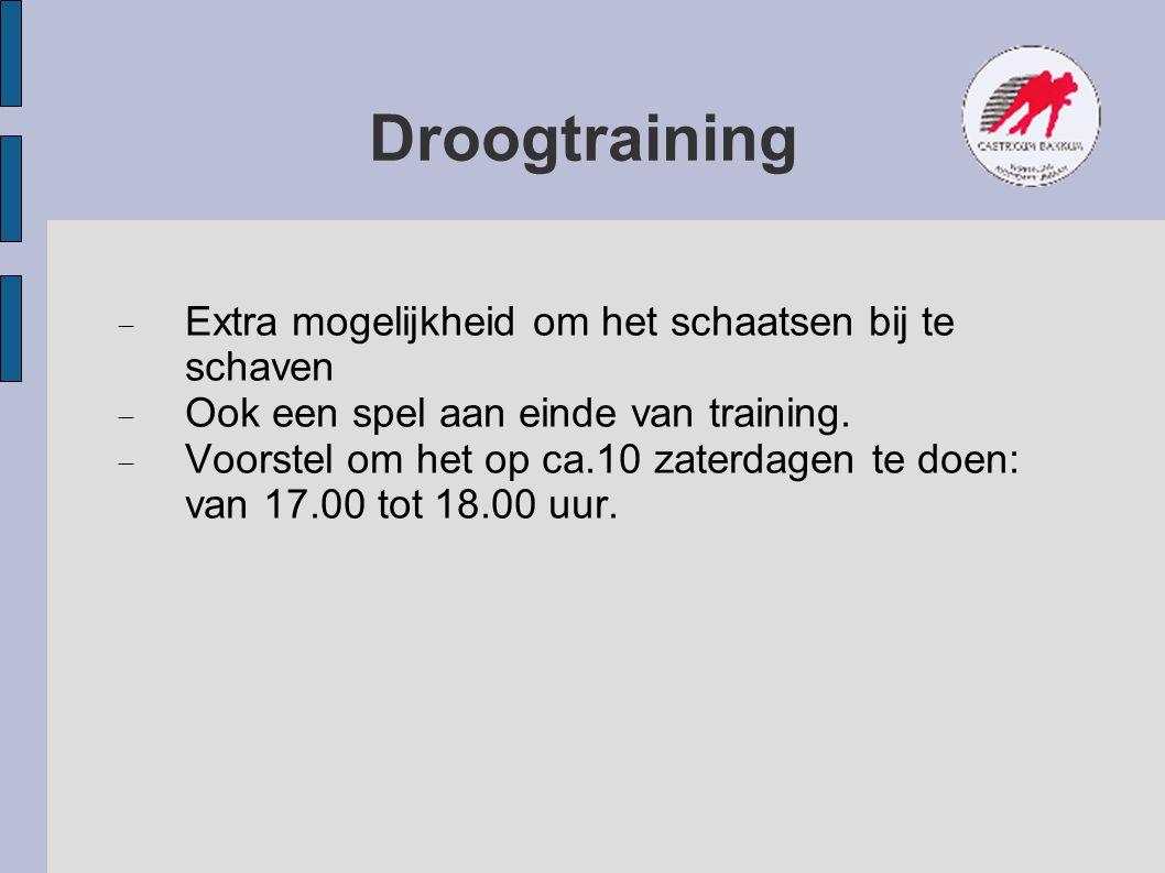 Droogtraining  Extra mogelijkheid om het schaatsen bij te schaven  Ook een spel aan einde van training.  Voorstel om het op ca.10 zaterdagen te doe