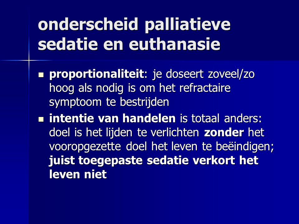 onderscheid palliatieve sedatie en euthanasie proportionaliteit: je doseert zoveel/zo hoog als nodig is om het refractaire symptoom te bestrijden proportionaliteit: je doseert zoveel/zo hoog als nodig is om het refractaire symptoom te bestrijden intentie van handelen is totaal anders: doel is het lijden te verlichten zonder het vooropgezette doel het leven te beëindigen; juist toegepaste sedatie verkort het leven niet intentie van handelen is totaal anders: doel is het lijden te verlichten zonder het vooropgezette doel het leven te beëindigen; juist toegepaste sedatie verkort het leven niet