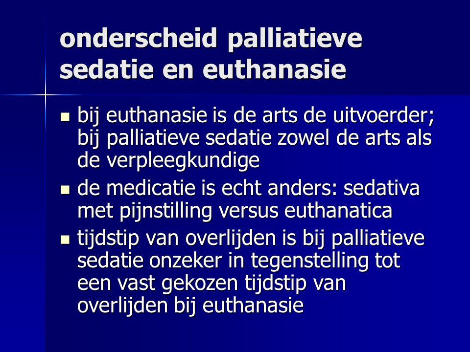 onderscheid palliatieve sedatie en euthanasie bij euthanasie is de arts de uitvoerder; bij palliatieve sedatie zowel de arts als de verpleegkundige bij euthanasie is de arts de uitvoerder; bij palliatieve sedatie zowel de arts als de verpleegkundige de medicatie is echt anders: sedativa met pijnstilling versus euthanatica de medicatie is echt anders: sedativa met pijnstilling versus euthanatica tijdstip van overlijden is bij palliatieve sedatie onzeker in tegenstelling tot een vast gekozen tijdstip van overlijden bij euthanasie tijdstip van overlijden is bij palliatieve sedatie onzeker in tegenstelling tot een vast gekozen tijdstip van overlijden bij euthanasie