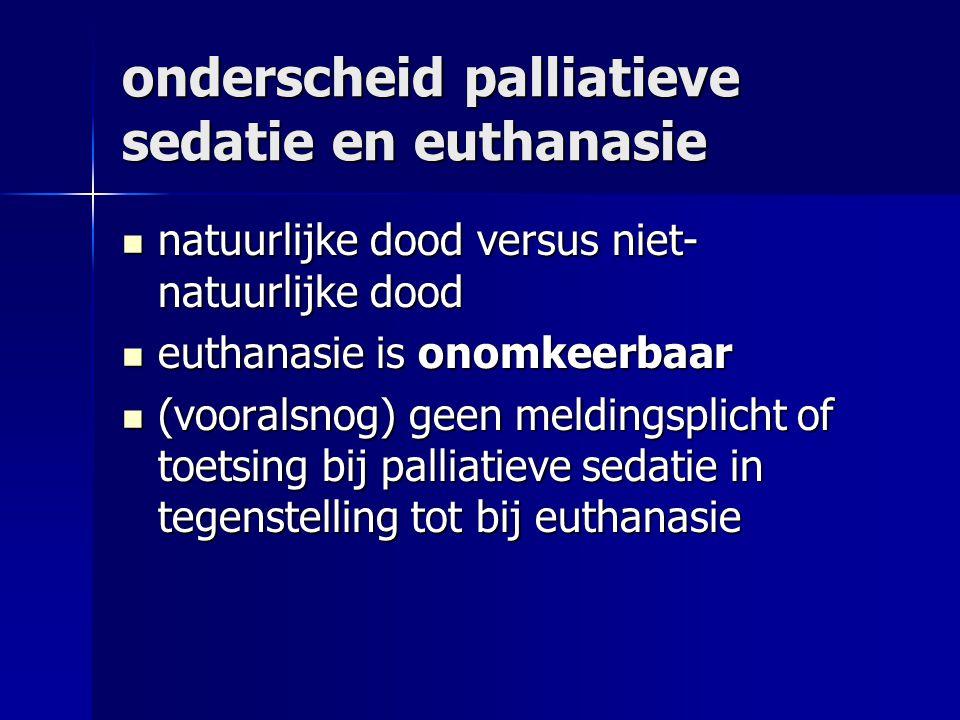 onderscheid palliatieve sedatie en euthanasie natuurlijke dood versus niet- natuurlijke dood natuurlijke dood versus niet- natuurlijke dood euthanasie is onomkeerbaar euthanasie is onomkeerbaar (vooralsnog) geen meldingsplicht of toetsing bij palliatieve sedatie in tegenstelling tot bij euthanasie (vooralsnog) geen meldingsplicht of toetsing bij palliatieve sedatie in tegenstelling tot bij euthanasie