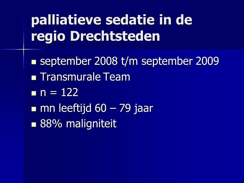 palliatieve sedatie in de regio Drechtsteden september 2008 t/m september 2009 september 2008 t/m september 2009 Transmurale Team Transmurale Team n = 122 n = 122 mn leeftijd 60 – 79 jaar mn leeftijd 60 – 79 jaar 88% maligniteit 88% maligniteit