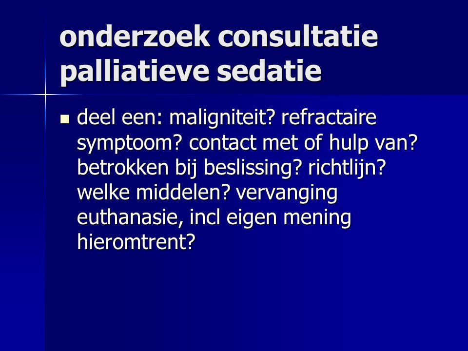onderzoek consultatie palliatieve sedatie deel een: maligniteit.