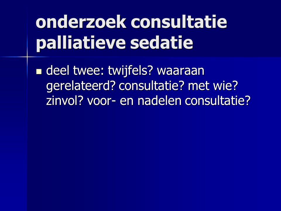onderzoek consultatie palliatieve sedatie deel twee: twijfels.