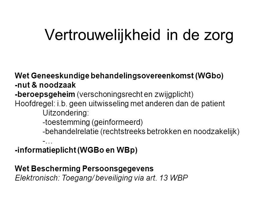 Vertrouwelijkheid in de zorg Wet Geneeskundige behandelingsovereenkomst (WGbo) -nut & noodzaak -beroepsgeheim (verschoningsrecht en zwijgplicht) Hoofd