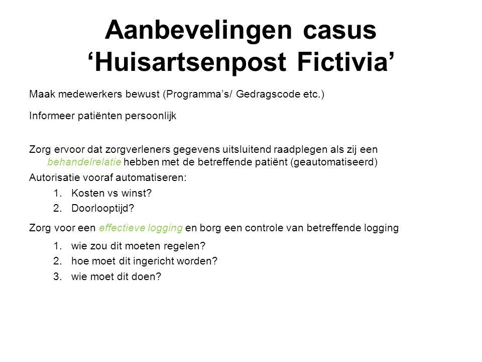 Aanbevelingen casus 'Huisartsenpost Fictivia' Maak medewerkers bewust (Programma's/ Gedragscode etc.) Informeer patiënten persoonlijk Zorg ervoor dat