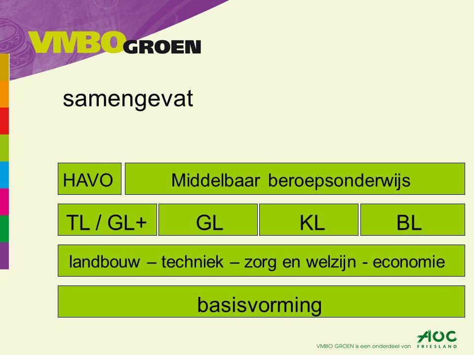 samengevat basisvorming landbouw – techniek – zorg en welzijn - economie TL / GL+GLKLBL HAVOMiddelbaar beroepsonderwijs