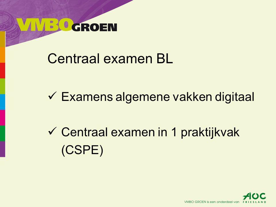 Centraal examen BL Examens algemene vakken digitaal Centraal examen in 1 praktijkvak (CSPE)