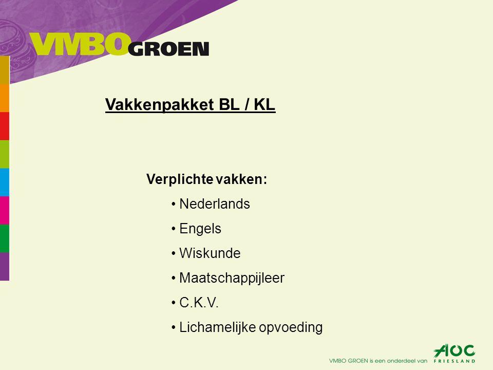 Verplichte vakken: Nederlands Engels Wiskunde Maatschappijleer C.K.V. Lichamelijke opvoeding Vakkenpakket BL / KL