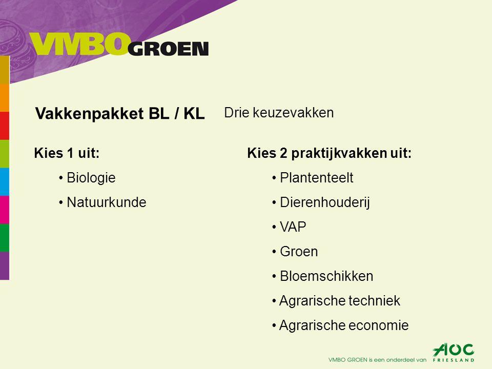 Kies 1 uit: Biologie Natuurkunde Vakkenpakket BL / KL Kies 2 praktijkvakken uit: Plantenteelt Dierenhouderij VAP Groen Bloemschikken Agrarische techni
