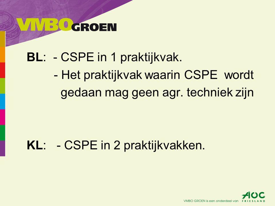 BL: - CSPE in 1 praktijkvak. - Het praktijkvak waarin CSPE wordt gedaan mag geen agr. techniek zijn KL: - CSPE in 2 praktijkvakken.