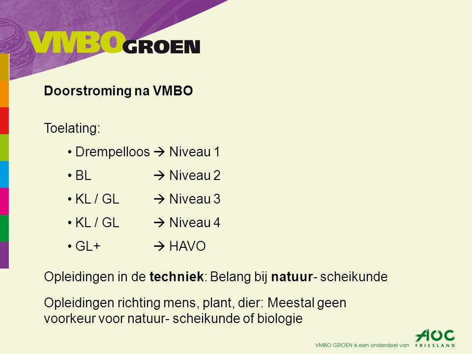 Toelating: Drempelloos  Niveau 1 BL  Niveau 2 KL / GL  Niveau 3 KL / GL  Niveau 4 GL+  HAVO Opleidingen in de techniek: Belang bij natuur- scheik