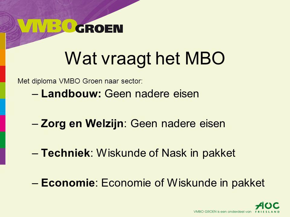 Wat vraagt het MBO Met diploma VMBO Groen naar sector: –Landbouw: Geen nadere eisen –Zorg en Welzijn: Geen nadere eisen –Techniek: Wiskunde of Nask in