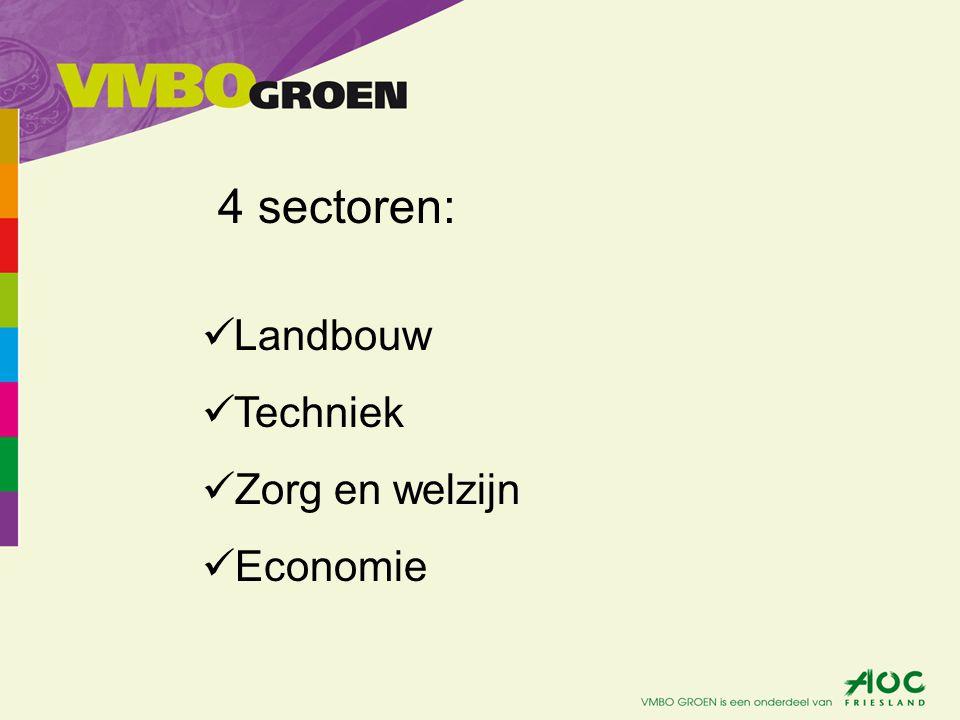 4 sectoren: Landbouw Techniek Zorg en welzijn Economie
