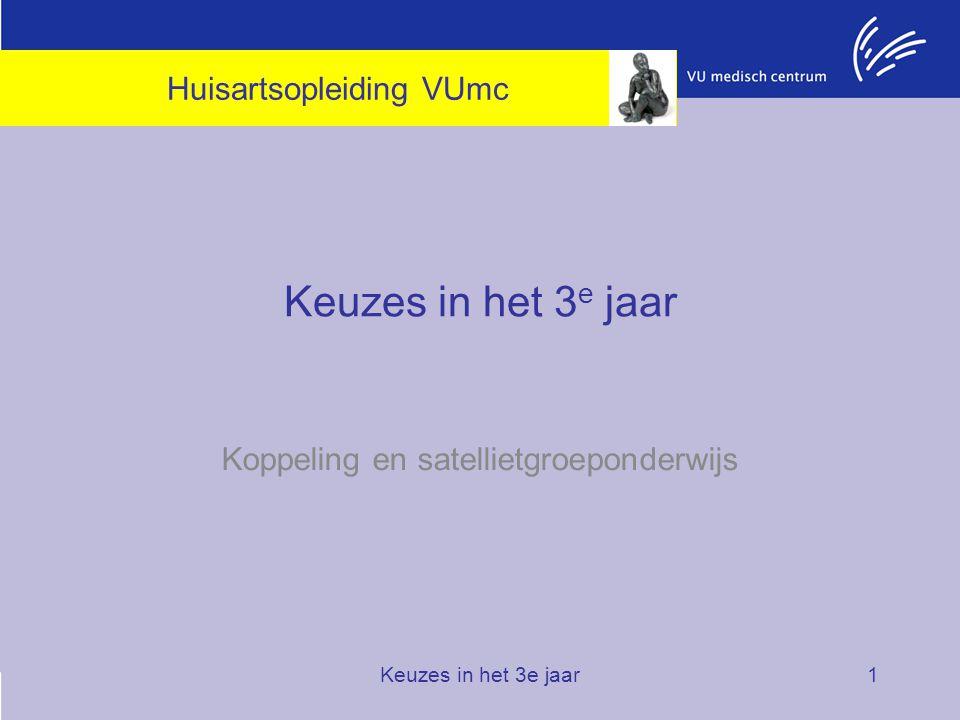 Keuzes in het 3e jaar1 Koppeling en satellietgroeponderwijs Huisartsopleiding VUmc