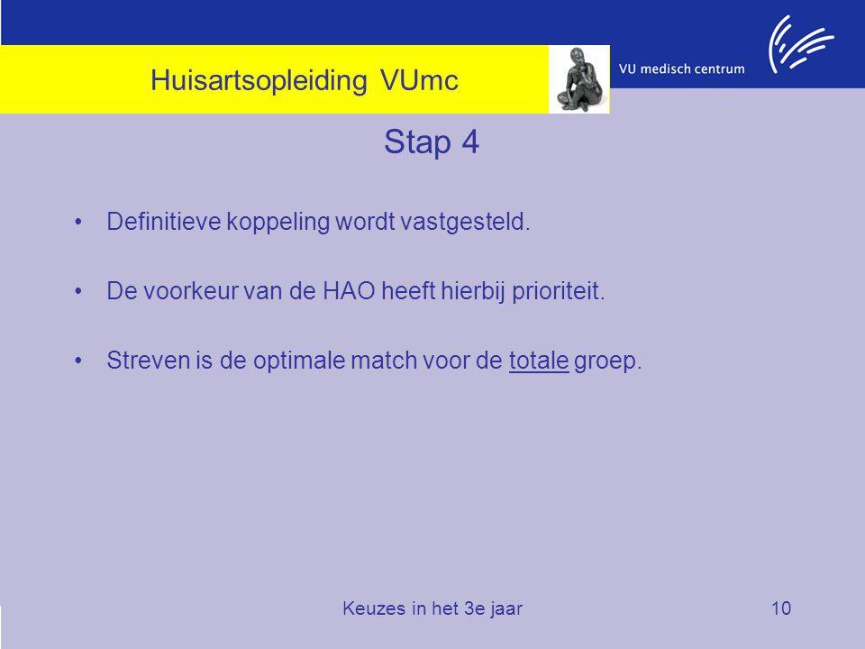 Keuzes in het 3e jaar10 Stap 4 Definitieve koppeling wordt vastgesteld. De voorkeur van de HAO heeft hierbij prioriteit. Streven is de optimale match