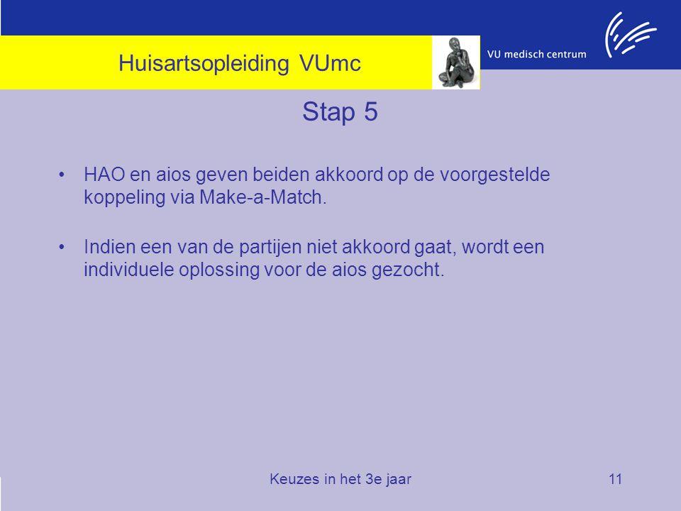 Keuzes in het 3e jaar11 Stap 5 HAO en aios geven beiden akkoord op de voorgestelde koppeling via Make-a-Match. Indien een van de partijen niet akkoord