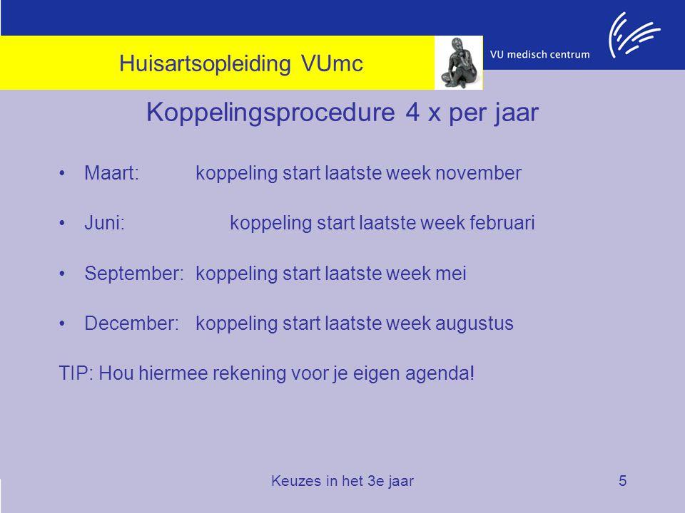 Keuzes in het 3e jaar5 Koppelingsprocedure 4 x per jaar Maart: koppeling start laatste week november Juni: koppeling start laatste week februari Septe
