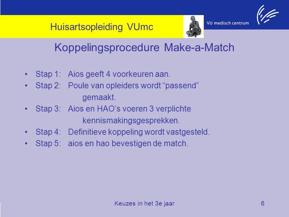 """Keuzes in het 3e jaar6 Koppelingsprocedure Make-a-Match Stap 1: Aios geeft 4 voorkeuren aan. Stap 2: Poule van opleiders wordt """"passend"""" gemaakt. Stap"""